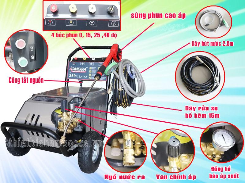 Phụ kiện đi kèm của máy rửa xe cao áp Omega 220bar